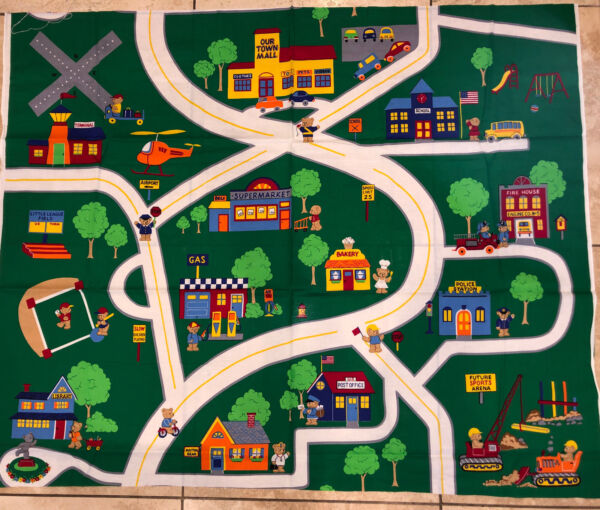 """Fabric Vintage Panel Bear Town Scene Road Play Mat Quilting Wall Hanging 36""""x44"""