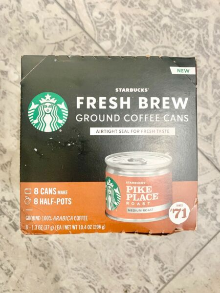Starbucks Medium Roast Fresh Brew Ground Coffee Cans. Pike Place 8 CANS