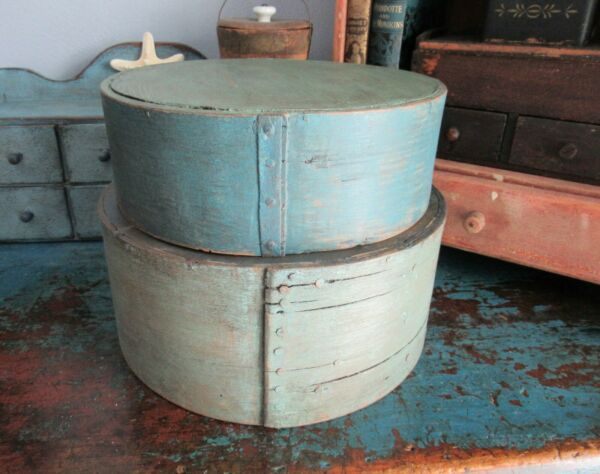 2 Thick Walled Grain Measures Pantry Box Shaker Firkin Blue Paint Primitive