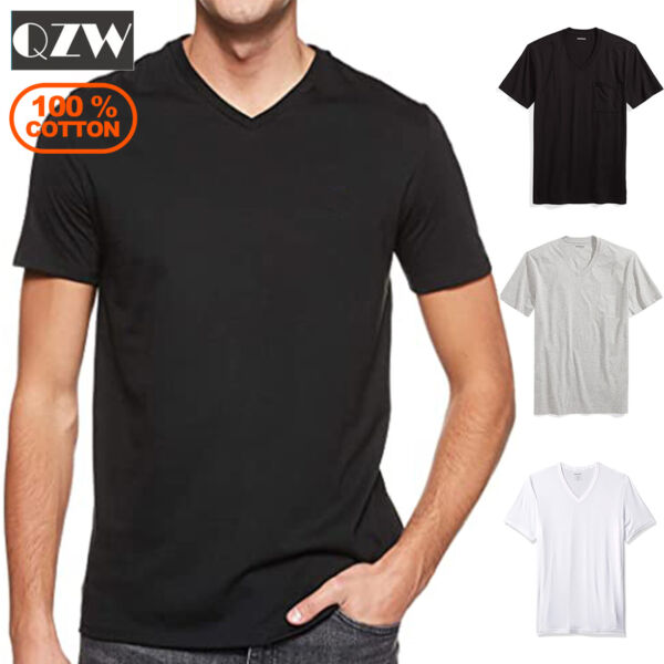 3 Pack Mens 100% Cotton Tagless Crew Round V Neck T Shirt Undershirt Tee White