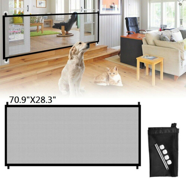 Baby Pets Cat Dog Gate Mesh Fence Home Kitchen Net Safety Portable Guard Indoor $11.29