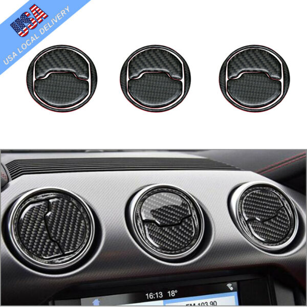 9Pcs Carbon Fiber Interior Air Vent Outlet Cover Trim For Ford Mustang 2015 2019 $14.44