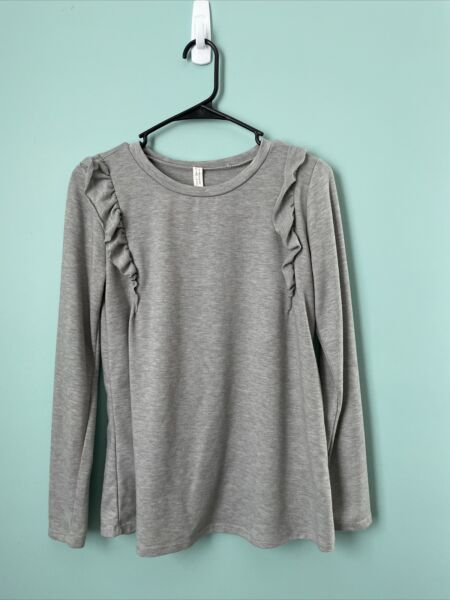 Flamingo Urban Sweater Grey With Ruffle Accents And Glitter Size S M $10.90