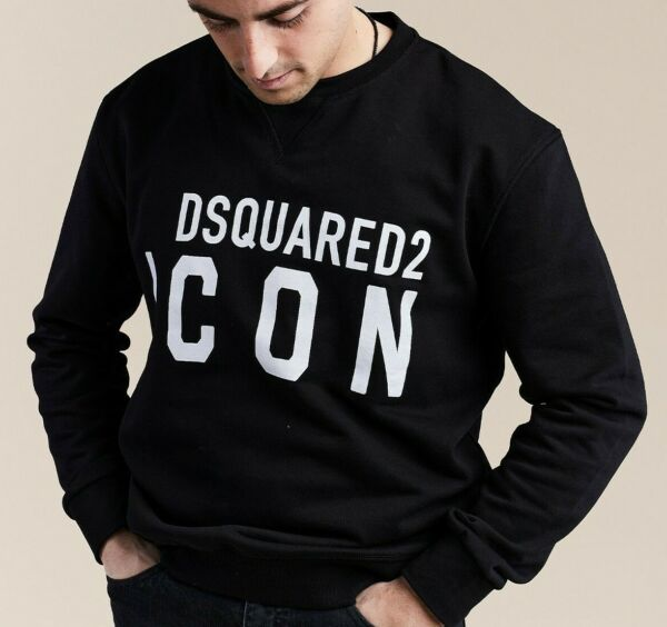 DSQUARED 2 SWEATER JUMPER SWEAT SHIRT BLACK LOGO PRINT SIZE L BRAND NEW MEN $65.00