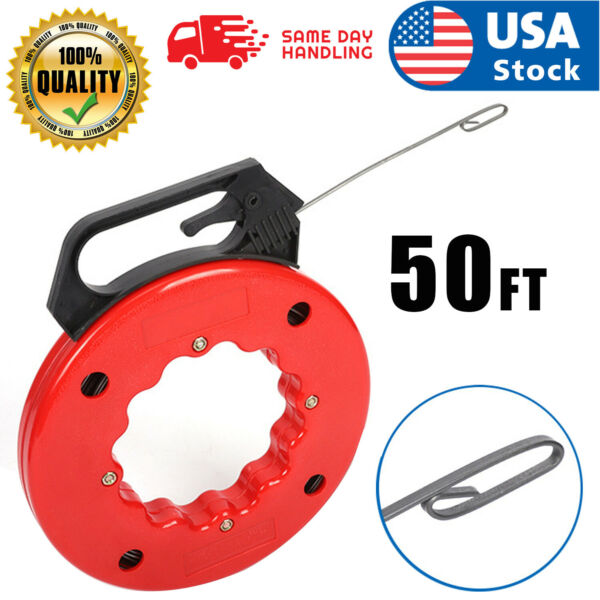 50ft Steel cable Fish tape Electric Wire Cable line puller in high plastic case $16.45