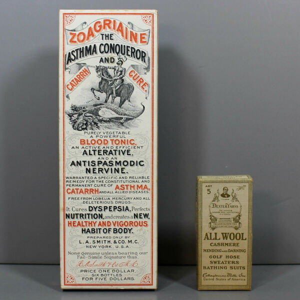 "2 Vintage Boxes: ZOAGRIAINE Patent Medicine ""Cure All"" amp; DEXTER YARNS ALL WOOL"