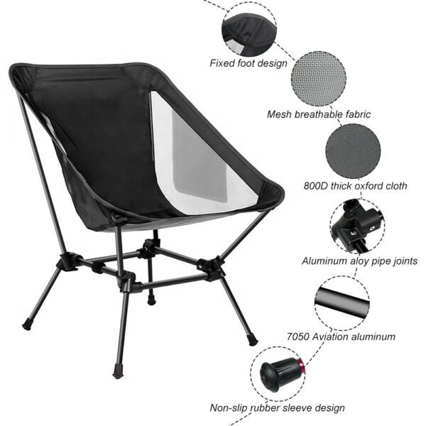 300LBS Ultralight Portable Folding Backpacking Camping Chair with 2 Storage Bags