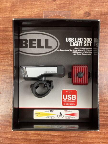 Bell 300 Lumen USB Rechargeable Bicycle Light Set Steady High Low Strobe NEW $24.99