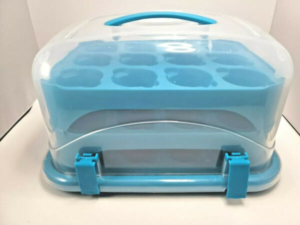 3 Tiered Cupcake Carrier Holder Container Plastic Storage Courier Teal Blue