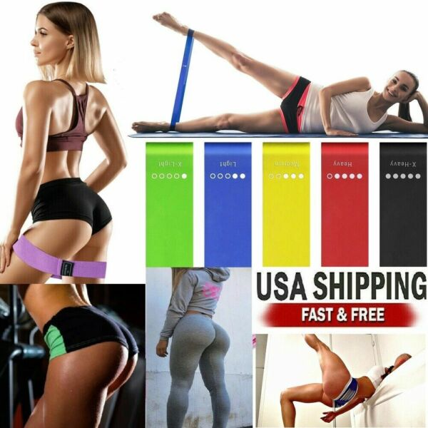 5 Resistance Bands Booty Fitness Gym At Home Exercise Yoga workout Cross Fit $9.99