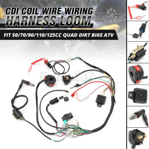 Electric Wiring Harness Wire Loom CDI Stator Kit For 70cc 110cc 125cc ATV QUAD $27.31