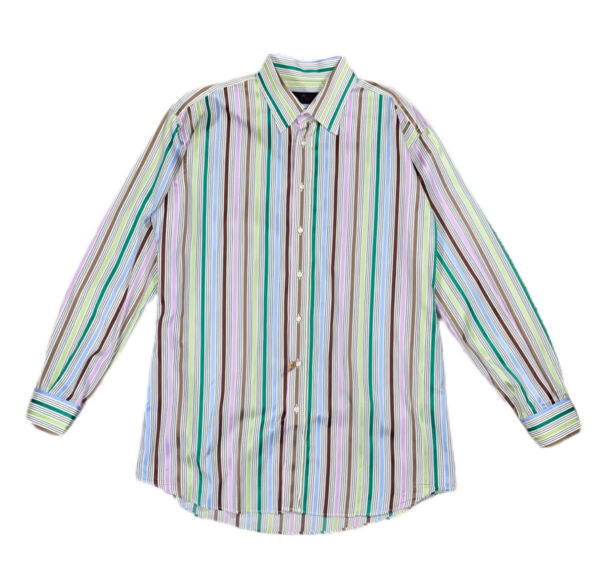 ETRO Mens Shirt 43 Green Striped Long Sleeve Button Down Italy $36.00