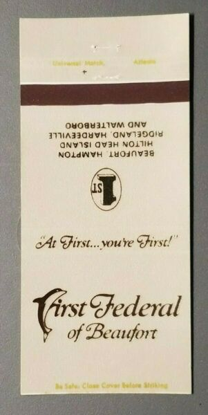 First Federal of Beaufort South Carolina Matchbook Cover