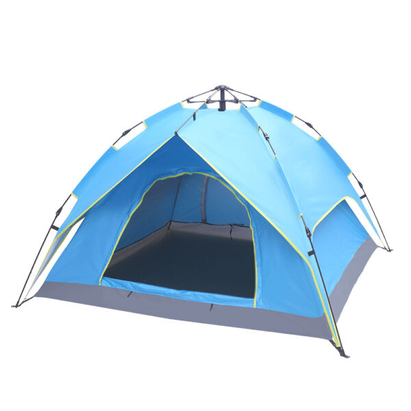 2 3 Person Double Deck Tow Door Hydraulic Automatic Build Outdoor Tent Blue