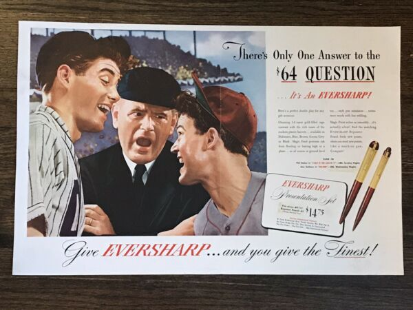 1940's Baseball Themed Print Ad For Eversharp Pens