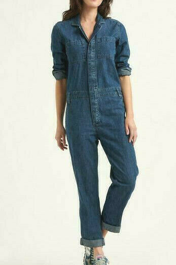 LUCKY BRAND XS M Sparrow Boiler Suit Denim Coveralls Mechanic Jumpsuit Overalls $89.00