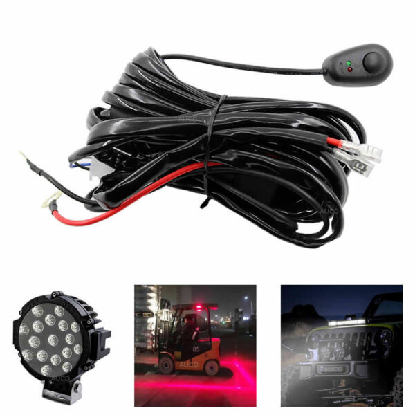 LED Driving HID Fog Lamp Connect Wire 12V 450W Work Light Bar Wiring Harness Kit