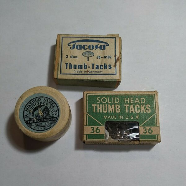 3 VINTAGE BOXES OF TACKS NEAT LOT