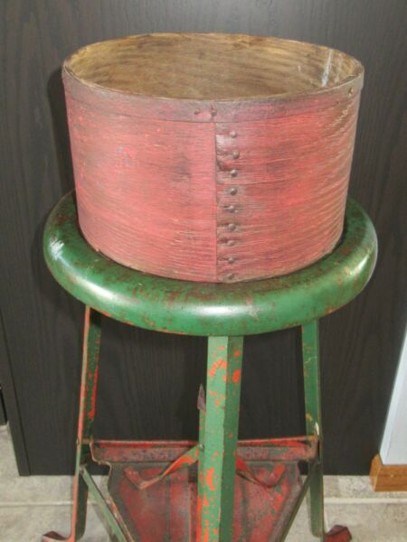 9quot; Antique Heavy Wooden Grain Measure Red Paint Primitive Pantry Box Firkin