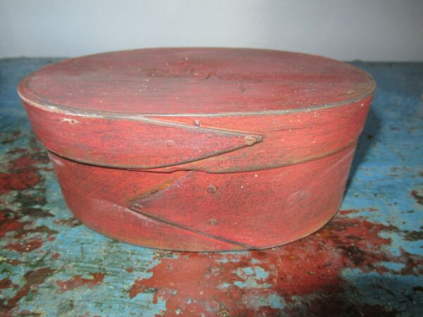 Small Antique Oval Pantry Box Shaker Fingers Box Red Paint Primitive