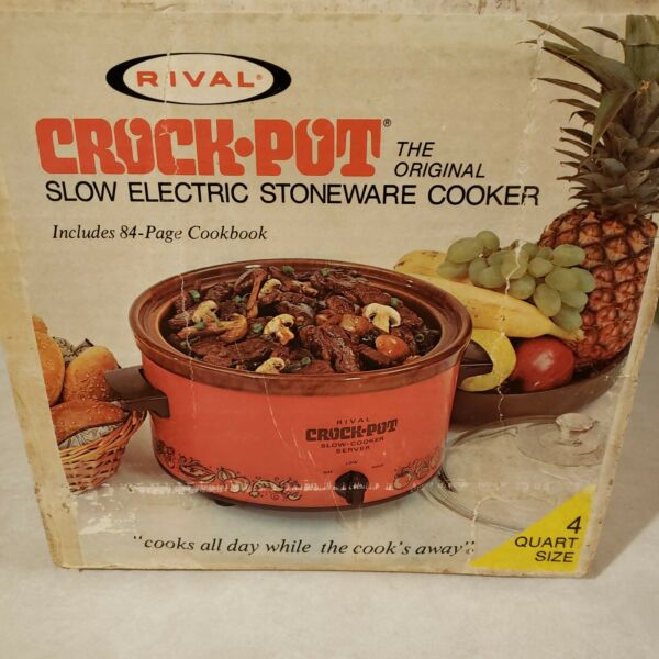 Vintage NIB Rival 3104 4 QT. Crock Pot Slow Cooker Orange Removable Stoneware