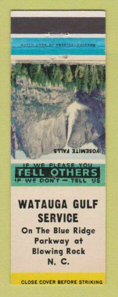 Matchbook Cover Watauga Gulf oil gas Blowing Rock NC $3.99