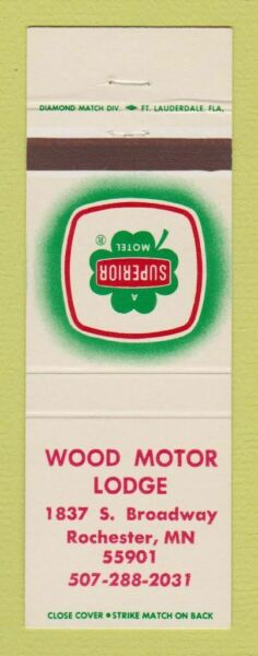 Matchbook Cover Wood Motor Lodge Rochester MN Superior Motel $3.99