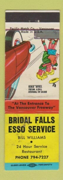 Matchbook Cover Bridal Falls Esso oil gas BC WORN $3.99
