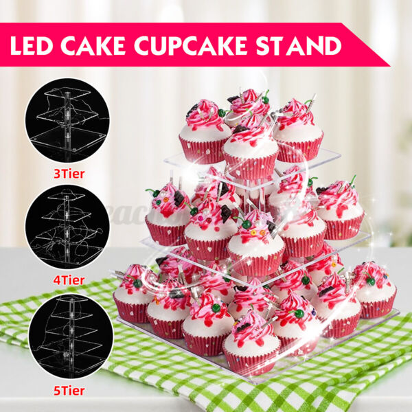 3 4 5 Tier Cupcake Stand w LED String Light Cake Holder Wedding Party
