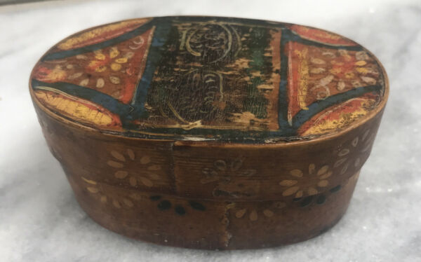 "Very Early Miniature 3"" Oval Floral Painted PA Dutch Pantry Box Original Paint"