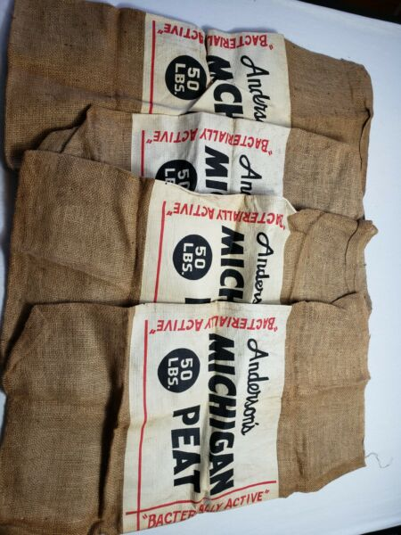 ANTIQUE TEXTILE Burlap Sacks Andersons Michigan Peat Lot of 4 50LB Bags