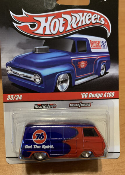 Hot Wheels #x27;66 Dodge A100 Van Truck Union 76 Slick Rides with Real Riders