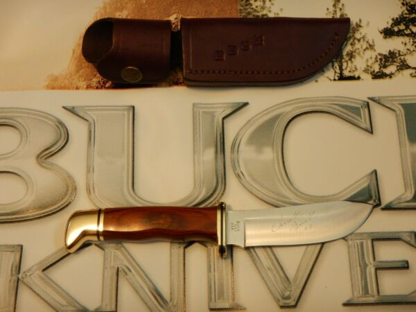 BUCK 103 SKINNER KNIFE 420HC BLADE Signed Chuck Buck 08 LEATHER SHEATH
