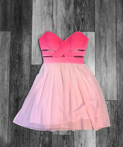 Hailey Logan x Adrianna Papell Formal Prom Cocktail Dress Pink Dip Dye Mini 3 4