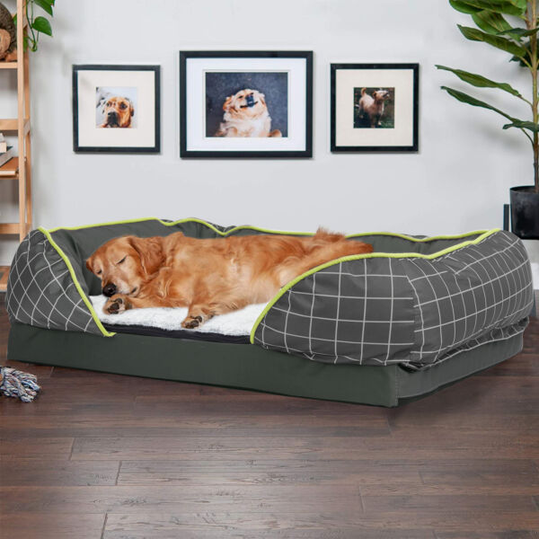 Super Large Orthopedic Dog Bed Sofa Style Chaise Lounger Spine Supportiv Bolster $25.99