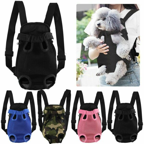Pet Carrier Backpack Adjustable Front Cat Dog Carrier Fabric Bag Legs Out S XL $13.49