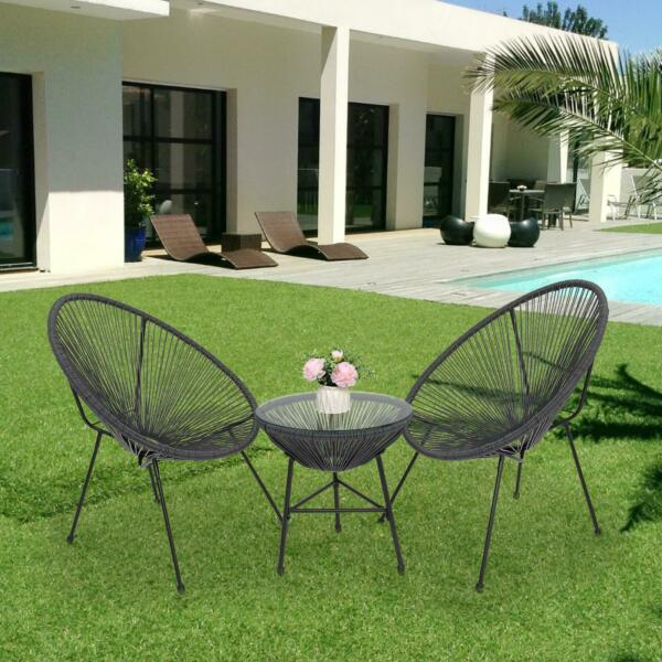 3 Piece Patio Sets Bistro Furniture Outdoor Hammock Weave Chair w Cofee Table