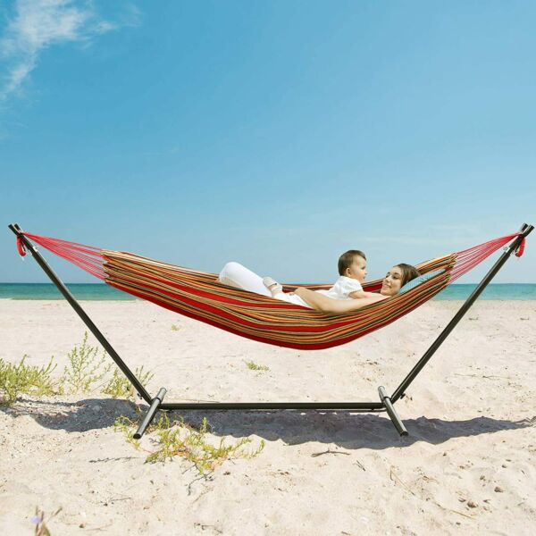 Adjustable Double Hammock Heavy Duty with Portable Stand Bag 450 LBS Load $65.99