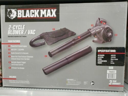 NEW Black Max Powerful 26cc 2 Cycle Engine 400 CFM amp; 150 MPH Gas Blower Vac