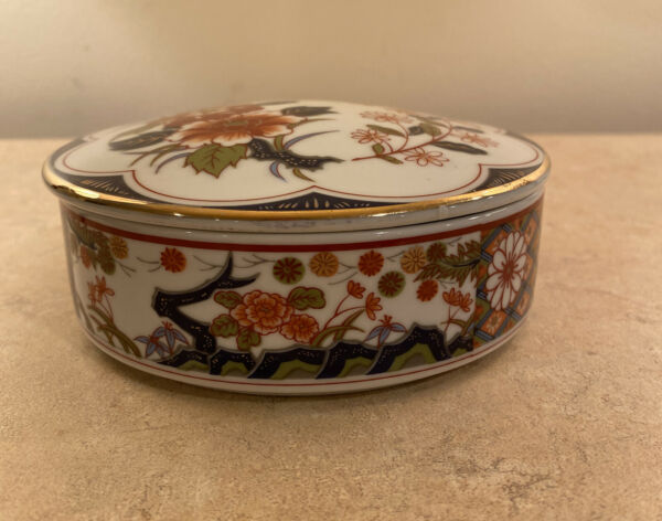 Japanese Old Imari Bowl Dish Tureen with Lid Floral Design Goldtone 6.5 inch