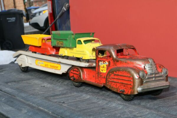 Lincoln Toys Car Carrier Auto Transporter w x2 trucks Canada Pressed Steel $459.99