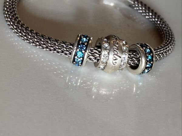 Brighton Barrel Charm Bracelet With Silver Blue Crystals amp; Friends Slide Charms $39.95