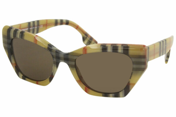 Burberry Women#x27;s BE4299F 3832 73 Transparent Vintage Check Brown Sunglasses 52mm $109.95