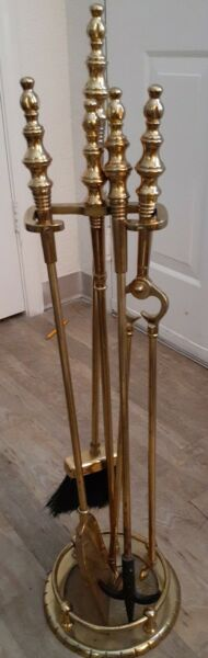 Vintage Antique polished Brass 4 Piece Fireplace Tool Set With Stand