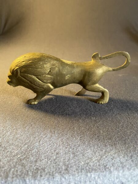 """Small Brass Lion Figurine Rattle From India 5""""x2"""""""