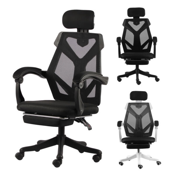 Swivel Gaming Office Chair High back Adjustment Ergonomic Recliner Footrest Pad