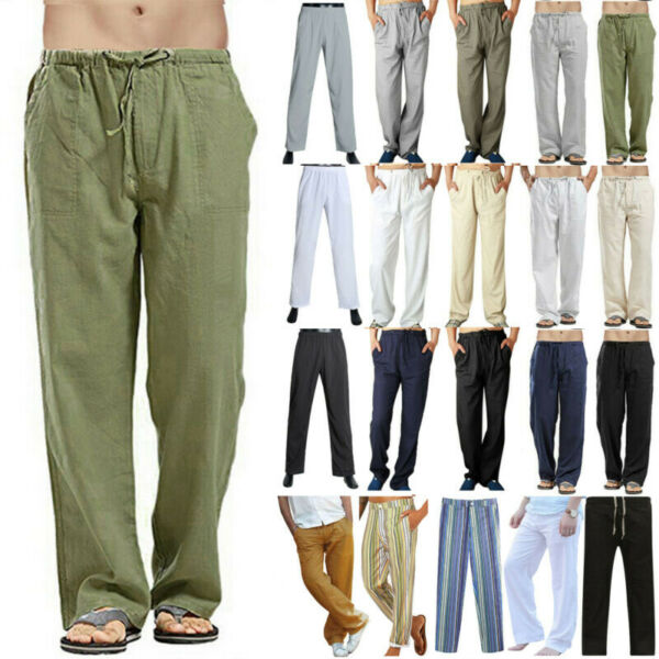 Men Bottom Linen Plain Pants Loose Fit Wide Leg Straight Yoga Lounge Trousers