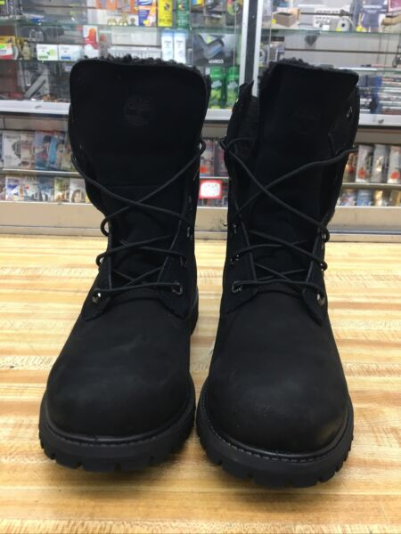Timberland Womens Teddy Fleece Fold Down Ankle Black Winter Boots US 7.5 EU 38.5 $65.00