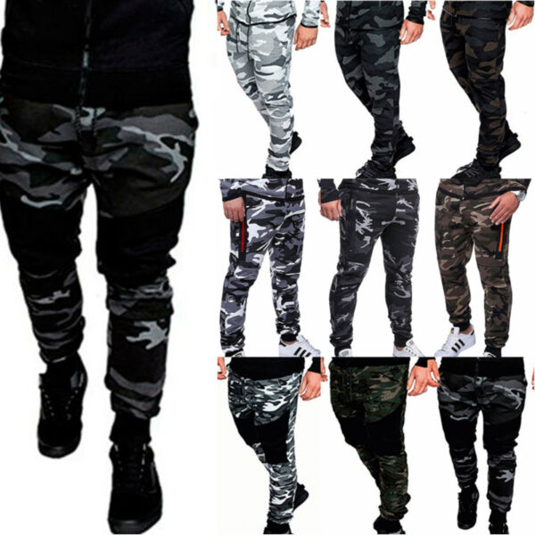 Men Bottom Jogging Sweatpants Camo Army Combat Activewear Gym Sports Trousers