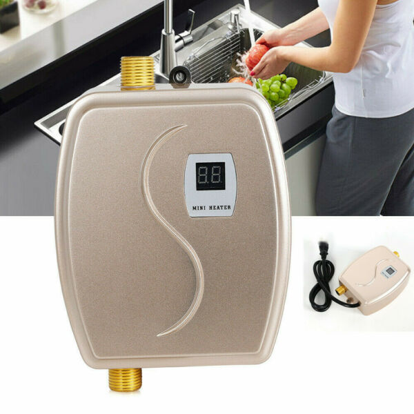 Electric Water Heater Tankless Instant Hot 3000W Waterproof Wall Mounted Gold US $53.00